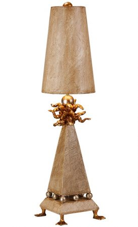 Flambeau Leda Gold 1 Light Table Lamp Cream Patina