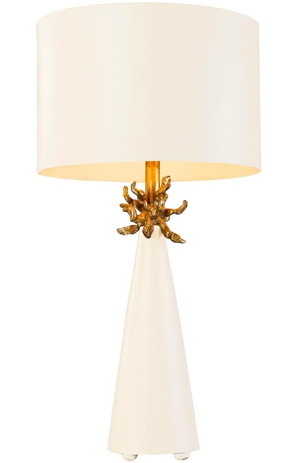 Flambeau Neo 1 Light Table Lamp French White & Gold Leaf Shade