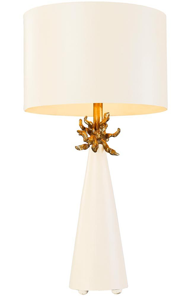 Flambeau Neo 1 Light Table Lamp French White Gold Leaf Shade