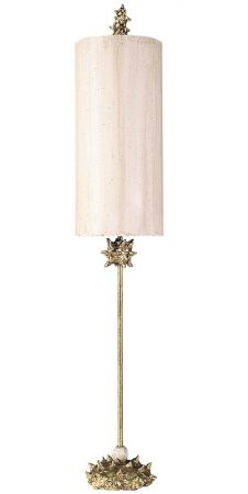 Flambeau Nettle 1 Light Large Table Lamp Cream & Gold Leaf
