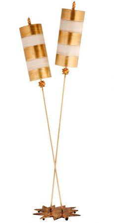 Flambeau Nettle Luxe 2 Light Large Floor Lamp Gold Leaf & Cream