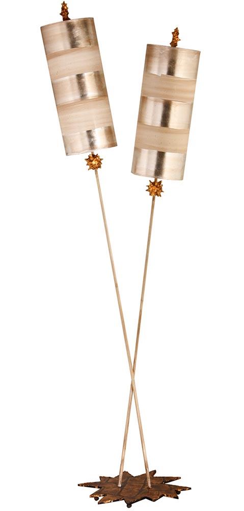 Flambeau Nettle Luxe 2 Light Large Floor Lamp Silver Cream Gold Leaf