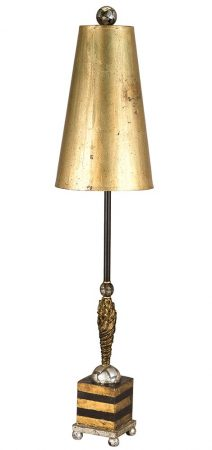 Flambeau Noma Luxe 1 Light Large Table Lamp Gold Leaf & Black