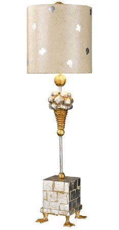 Flambeau Pompadour X 1 Light Table Lamp Cream Silver Gold Leaf