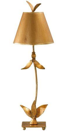 Flambeau Red Bell 1 Light Buffet Table Lamp Gold Leaf