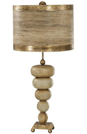 Flambeau Retro 1 Light Table Lamp Textured Cream & Gold