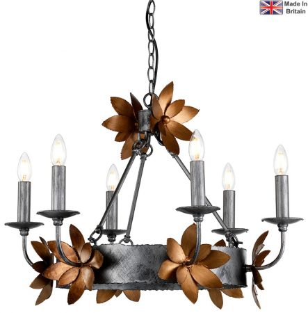 Flambeau Simone 6 Light Chandelier Distressed Silver Gold Leaf