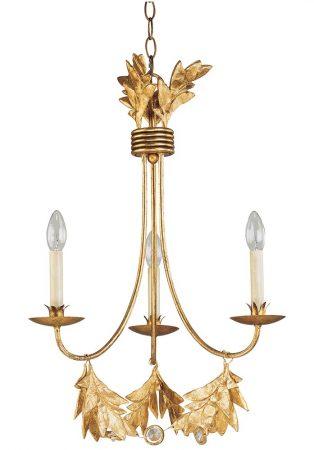 Flambeau Sweet Olive 3 Light Chandelier Gilded Gold Patina