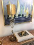 Flambeau Venetian 1 Light Table Lamp Beige Patina Gold Crystal
