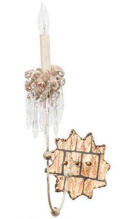 Flambeau Venetian 1 Lamp Wall Light Beige Patina Gold Crystal