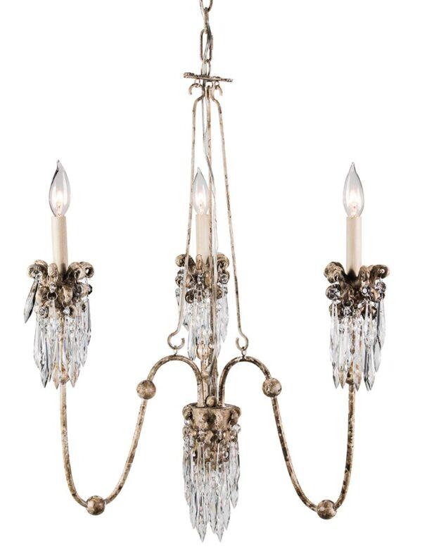 Flambeau Venetian 3 Light Chandelier Beige Patina Crystal Drops