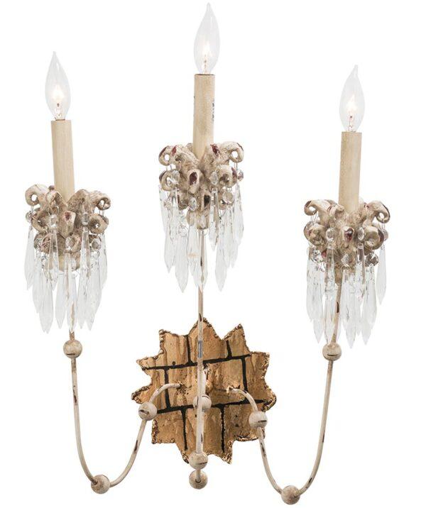 Flambeau Venetian 3 Lamp Large Wall Light Beige Patina Gold Crystal