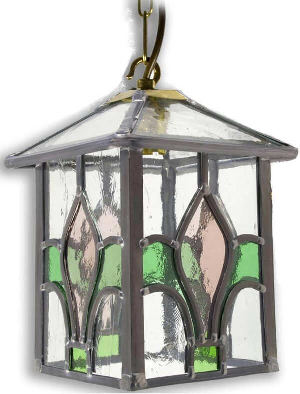 Fleur De Lis Pink / Green Leaded Stained Glass Hanging Porch Lantern