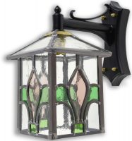 Fleur De Lis Pink / Green Leaded Stained Glass Outdoor Wall Lantern