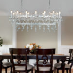 Florence 14 Light Ceiling Pendant Bar Polished Chrome Crystal Drops