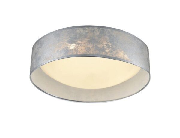 Classic 3 Lamp Flush Mount Low Ceiling Light Silver Fabric Shade