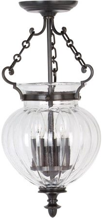 Finsbury Park Small Old Bronze 3 Light Glass Hanging Lantern