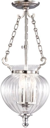 Finsbury Park Small Polished Nickel 3 Light Glass Hanging Lantern