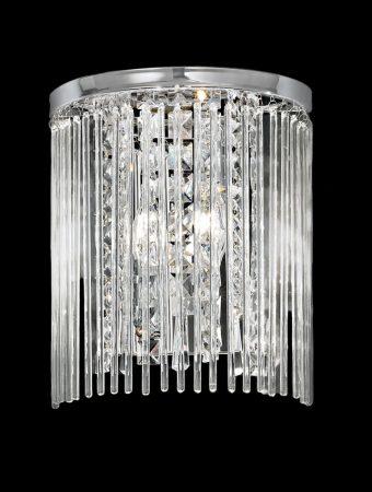 Franklite Charisma 2 Lamp Wall Light Chrome Crystal Glass