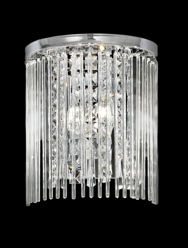 Art Deco Style 2 Lamp Wall Light Polished Chrome Crystal Glass Rods