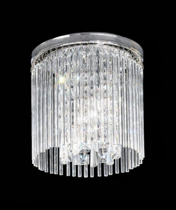 Art Deco Style 3 Lamp 25cm Flush Ceiling Light Chrome Crystal Glass