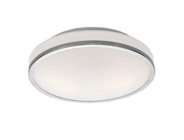 Flush 2 Lamp Backlit Bathroom Ceiling Light Chrome Opal Glass IP44