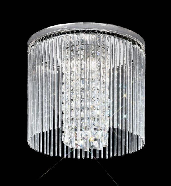 Art Deco Style 35cm Flush Bathroom Ceiling 3 Light Chrome Crystal Glass