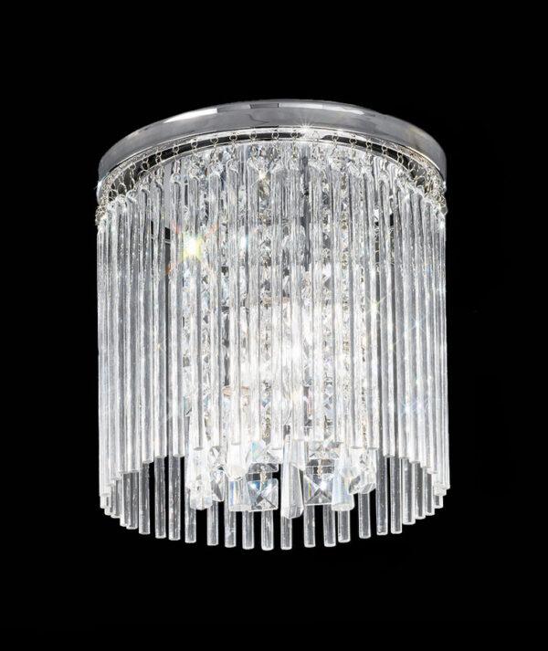 Art Deco Style 25cm Flush Bathroom Ceiling 3 Light Chrome Crystal Glass
