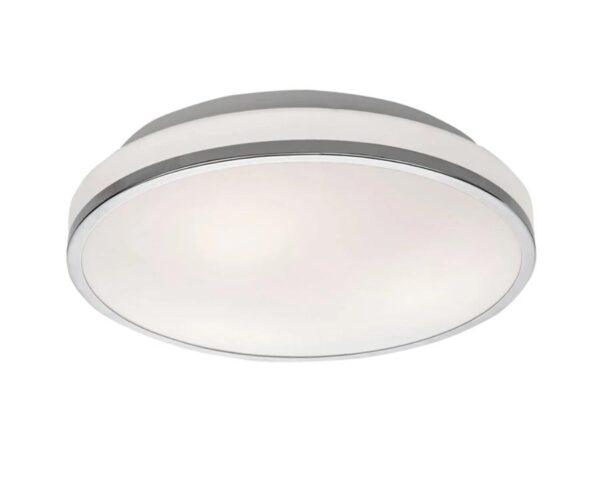 Flush 3 Lamp Backlit Bathroom Ceiling Light Chrome Opal Glass IP44