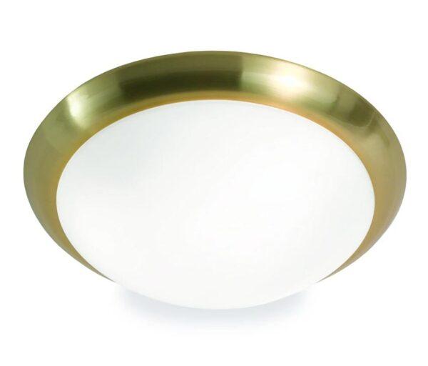 Classic 3 Lamp Flush Low Ceiling Light Matt Opal White Glass Satin Brass