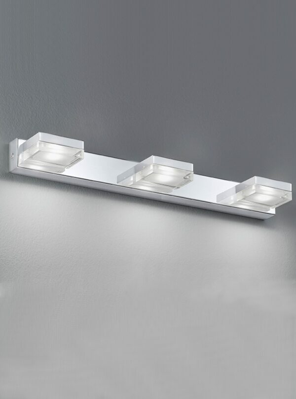 Modern 3 Light LED Bathroom Over Mirror Light Polished chrome IP44