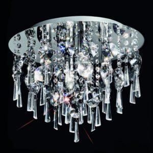 Luxury 4 Lamp 40cm Flush Bathroom Ceiling Light Chrome Crystal IP44