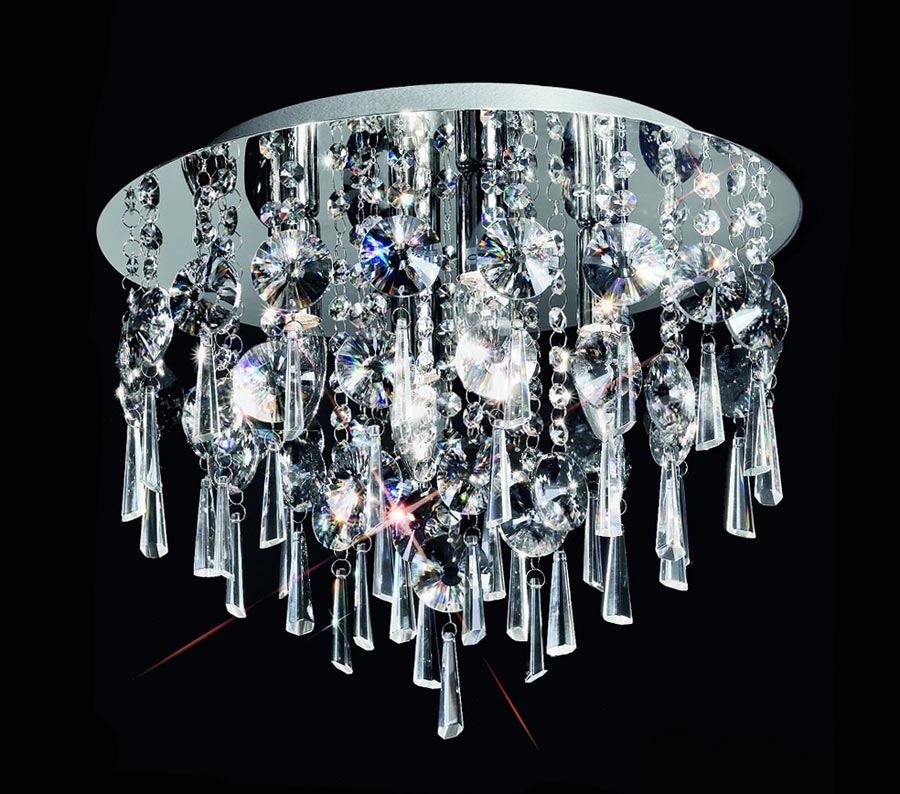 Luxury 4 Lamp 40cm Flush Bathroom Ceiling Light Chrome ...