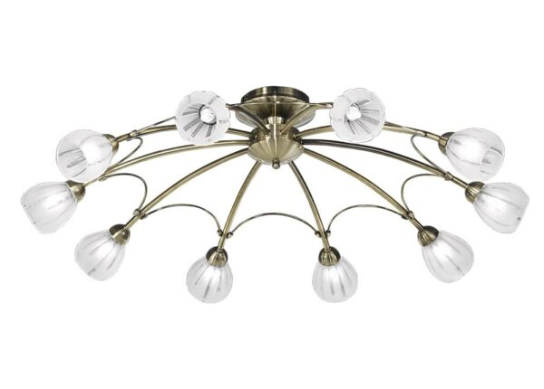 Large 10 Light Flush Mount Low Ceiling Light Bronze Frosted Glass