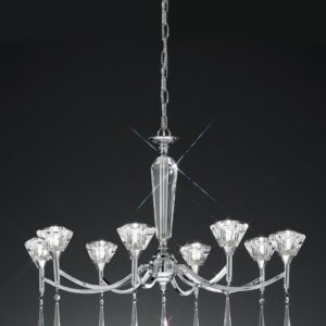 Classic 8 Arm Chandelier Polished Chrome Crystal Glass Shades Drops