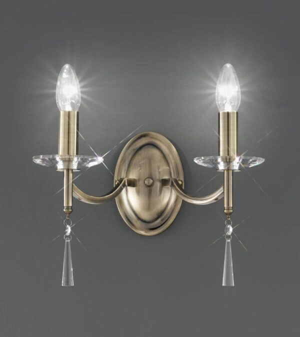 Classic 2 Lamp Twin Wall Light Bronze Finish Crystal Sconces Drops