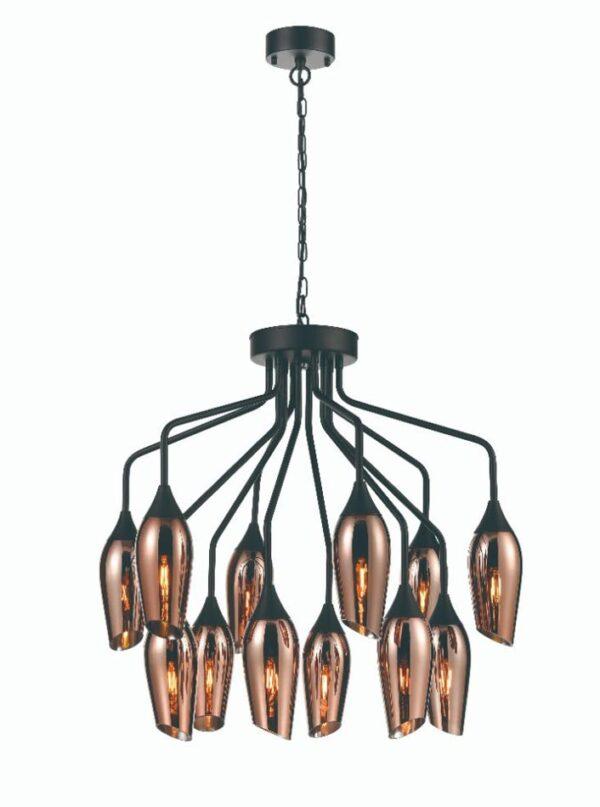 Contemporary 12 Light Chandelier Matt Black Copper Glass Taper Shades