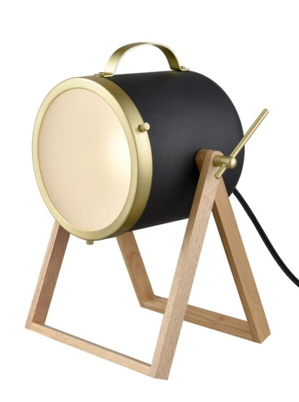 Free Standing Floor / Table 1 Light Portable Lamp Black & Satin Brass
