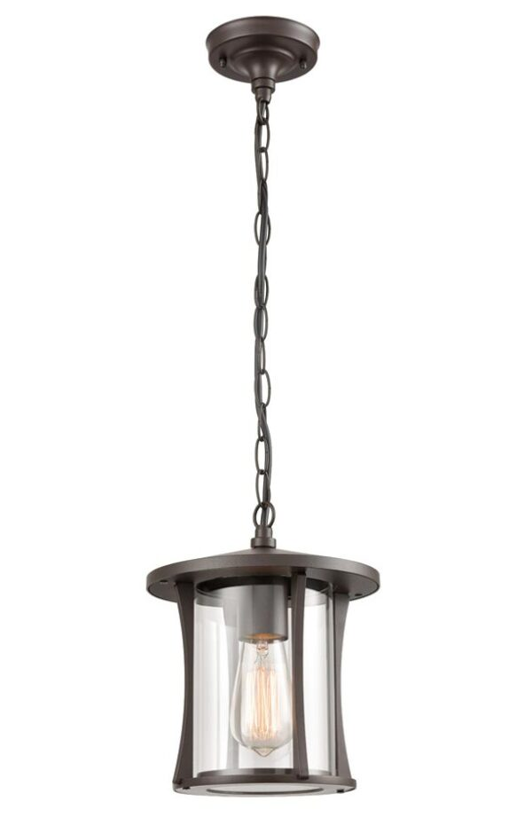 Modern 1 Light Small Hanging Outdoor Porch Lantern Brown Clear Glass