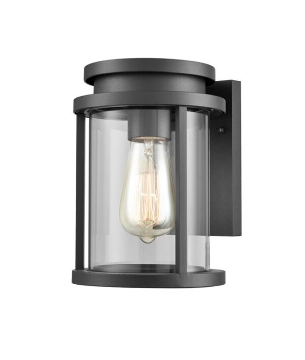 Modern 1 Light Small Outdoor Wall Lantern Charcoal Clear Glass IP44