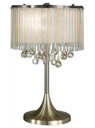 Franklite Ambience 3 Light Table Lamp Bronze Glass Drops