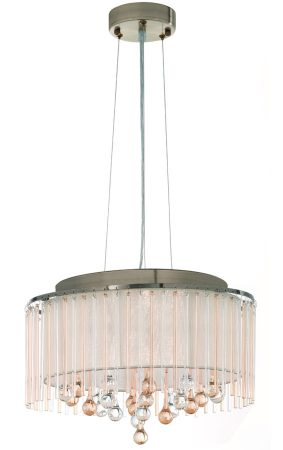 Franklite Ambience 6 Light Pendant Bronze Cream Shade Glass Drops