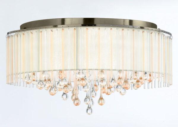 Franklite Ambience 8 Light Flush Mount Ceiling Light Bronze Glass Drops
