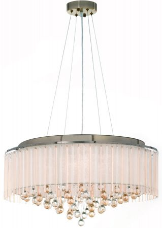 Franklite Ambience 8 Light Pendant Bronze Cream Shade Glass Drops