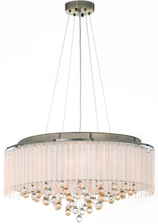 Franklite FL2346/8 Ambience 8 light ceiling pendant in bronze switched off