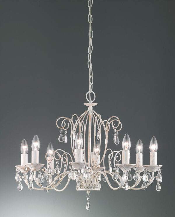 Franklite FL2355/8 Aria 8 arm ironwork chandelier in white and gold with crystal drops