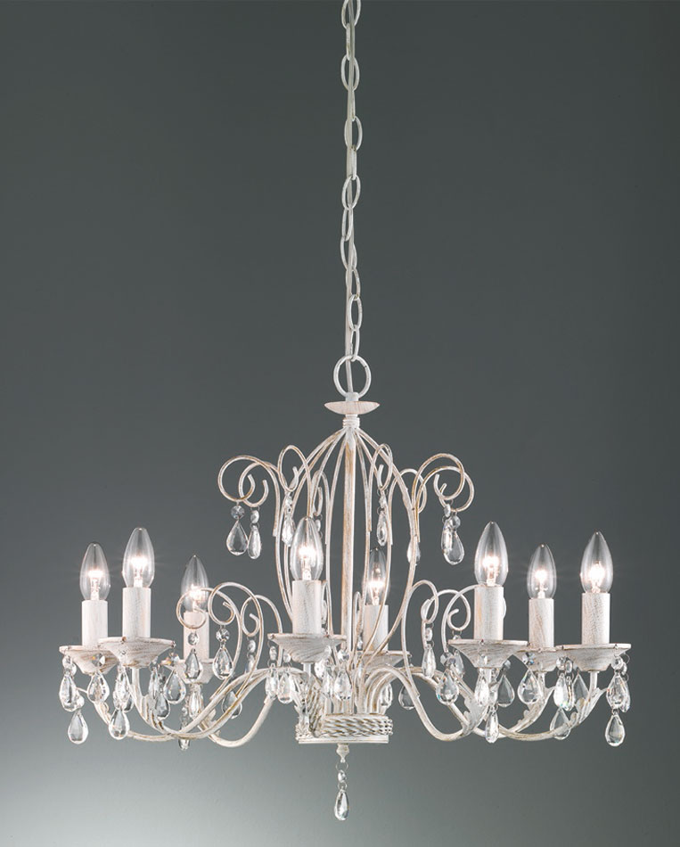Shabby Chic Style 8 Light Chandelier White Gold Crystal Drops