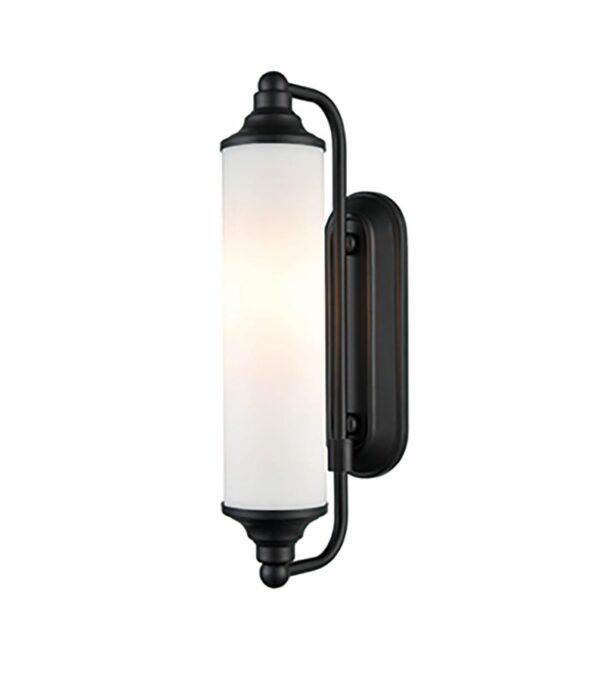 Art Deco Style Bathroom Wall Light Matt Black Opal White Glass IP44