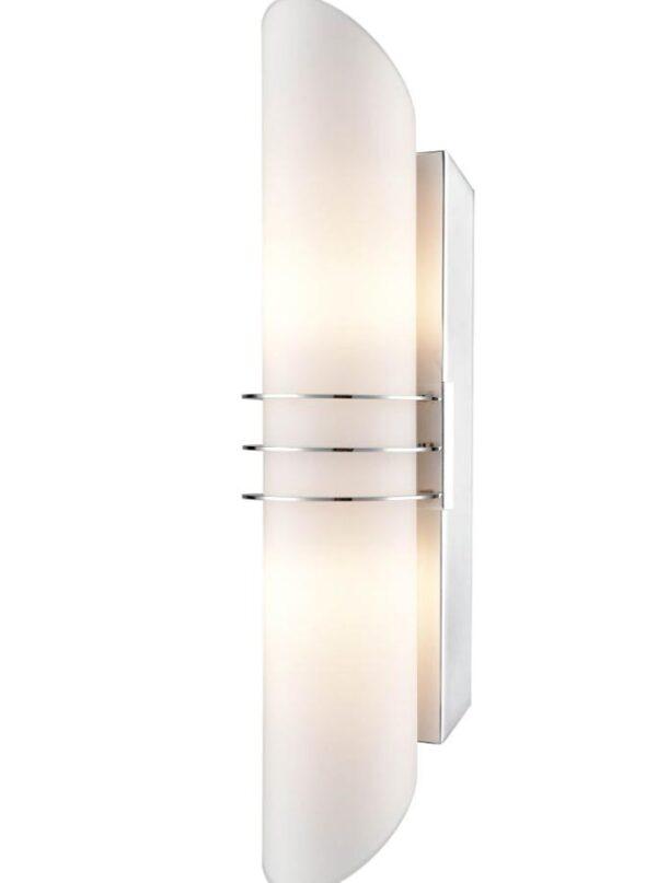 Art Deco Style 2 Lamp Bathroom Wall Light Chrome Matt Opal Glass