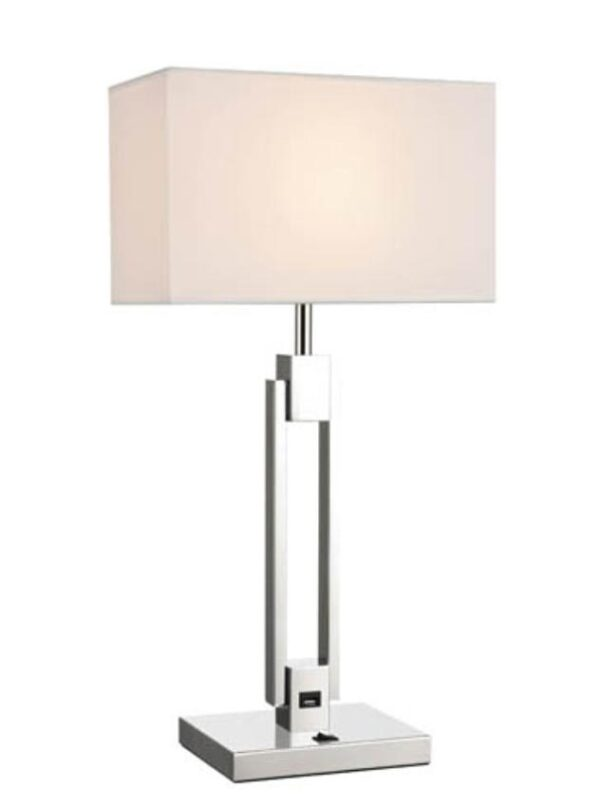 Art Deco Style Double Stem Table Lamp USB Off White Shade Chrome